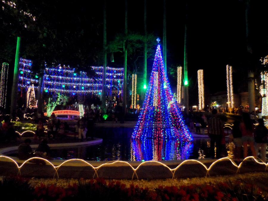 Luzes da praça Tancredo Neves encantam crianças e adultos