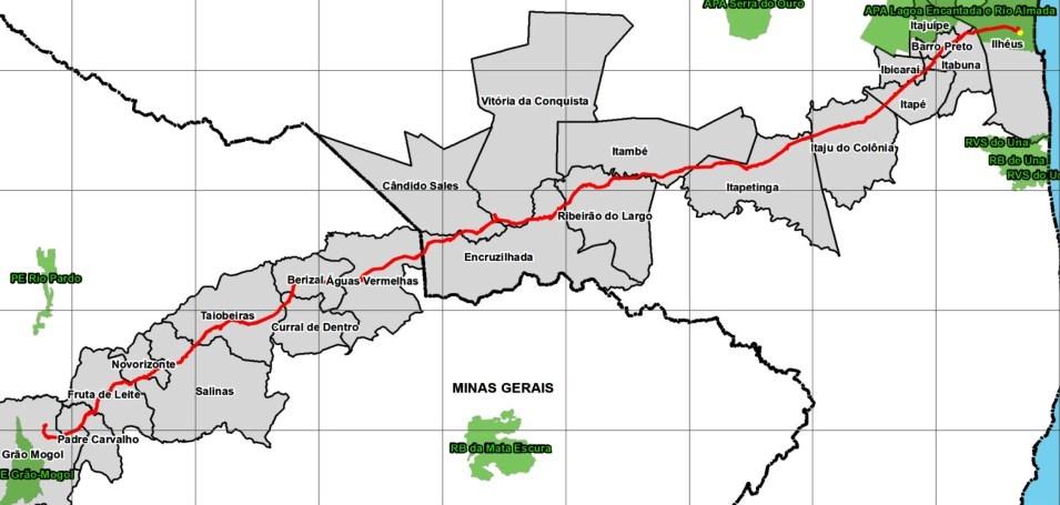 Traçado dos 482 km de mineroduto
